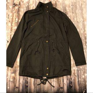 NWT Forever 21 dark grey zip up utility jacket